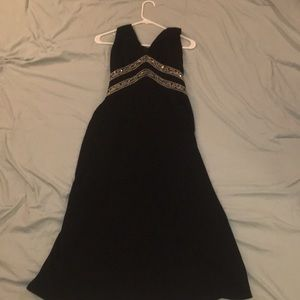 Formal black dress with beading